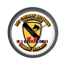 Army - 1st Cav Div w Afghan Svc Wall Clock