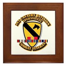 Army - 1st Cav Div w Afghan Svc Framed Tile