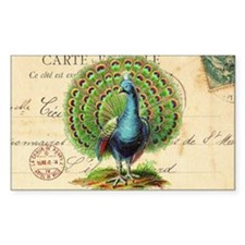 Vintage French peacock and pos Decal