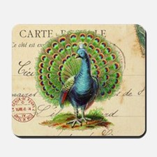 Vintage French peacock and postcard Mousepad