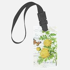 Vintage French botanical yellow  Luggage Tag
