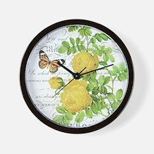 Vintage French botanical yellow rose Wall Clock