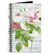 Vintage French Botanical pink rose Journal