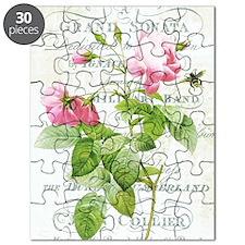 Vintage French Botanical pink rose Puzzle