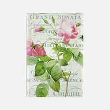 Vintage French Botanical pink ros Rectangle Magnet
