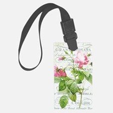 Vintage French Botanical pink ro Luggage Tag