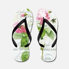 Vintage French Botanical pink rose Flip Flops