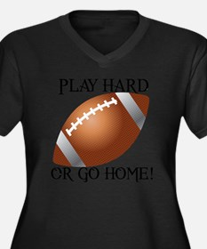 Play Hard or Women's Plus Size Dark V-Neck T-Shirt