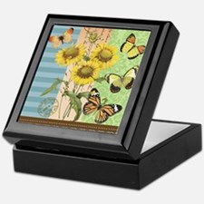 Modern Vintage French sunflowers and  Keepsake Box