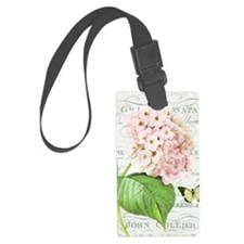 Vintage French botanical pink hy Luggage Tag