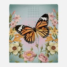 Modern Vintage Monarch butterfly Throw Blanket