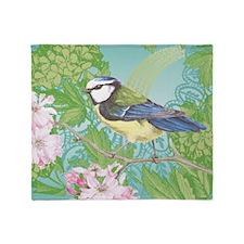 Modern vintage bird on cherry blosso Throw Blanket