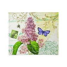 Modern vintage French botanical lila Throw Blanket