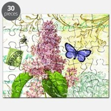 Modern vintage French botanical lilac Puzzle