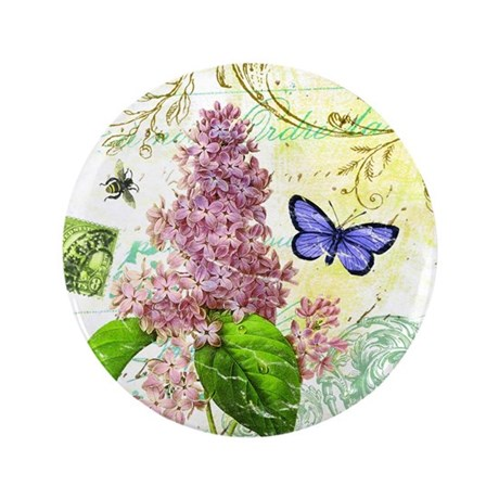 "Modern vintage French botanical lilac 3.5"" Button"