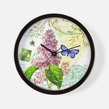 Modern vintage French botanical lilac Wall Clock