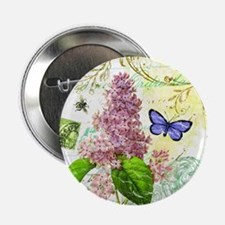 "Modern vintage French botanical lilac 2.25"" Button"