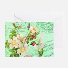 Modern vintage french hummingbird Greeting Card