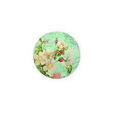 Modern vintage french hummingbird Mini Button