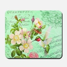 Modern vintage french hummingbird Mousepad
