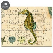 vintage French postcard with seahorse and   Puzzle