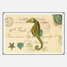 vintage French postcard with seahorse and   Banner