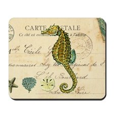 vintage French postcard with seahorse an Mousepad