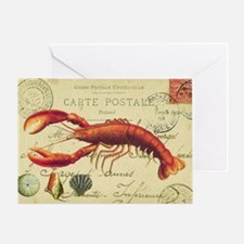 vintage French postcard with lobster Greeting Card