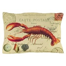 vintage French postcard with lobster Pillow Case
