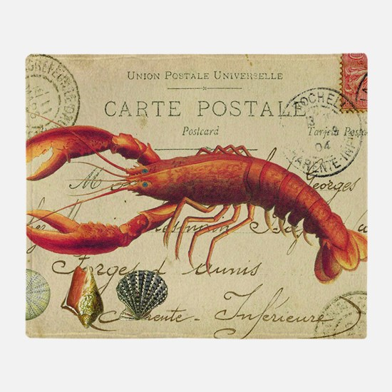 vintage French postcard with lobster Throw Blanket