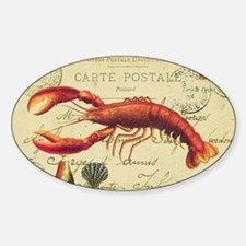 vintage French postcard with lobste Sticker (Oval)