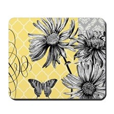 Modern vintage floral collage Mousepad