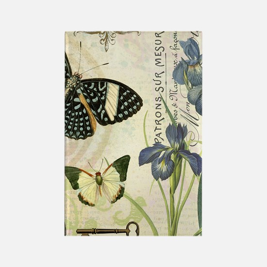 modern vintage French butterflies Rectangle Magnet