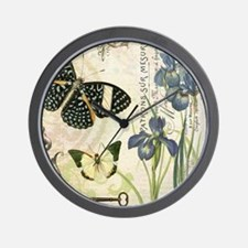 modern vintage French butterflies and i Wall Clock