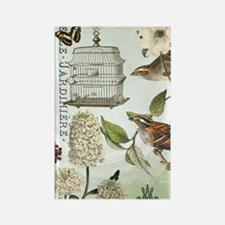 Modern vintage French birds and b Rectangle Magnet