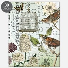 Modern vintage French birds and birdcage Puzzle