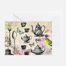 Vintage French Garden tea party Greeting Card
