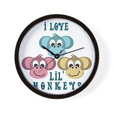 retro i love lil little monkeys Wall Clock