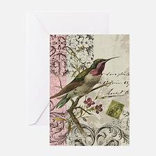 Modern vintage French hummingbird Greeting Card