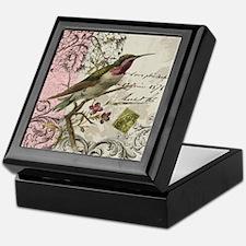 Modern vintage French hummingbird Keepsake Box