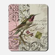 Modern vintage French hummingbird Mousepad