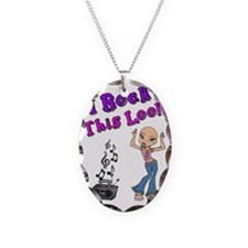 Bald Beautiful Girl Necklace Oval Charm
