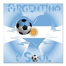 "Argentine Soccer Soul Square Car Magnet 3"" x 3"""