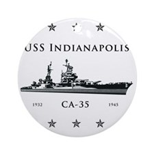 USS Indianapolis Stars above and be Round Ornament
