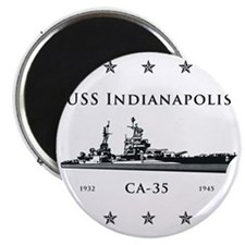USS Indianapolis Stars above and below Magnet