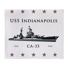 USS Indianapolis Stars above and bel Throw Blanket
