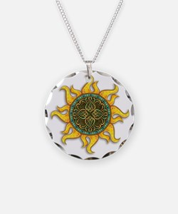 Mosaic Sun Necklace Circle Charm