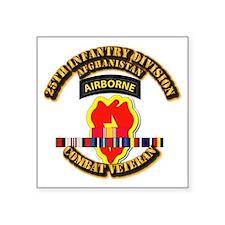 "Army - 25th ID w Afghan Svc Square Sticker 3"" x 3"""