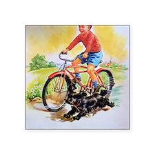 """Vintage Bike Boy Square Sticker 3"""" x 3"""""""