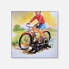 "Vintage Bike Boy Square Sticker 3"" x 3"""